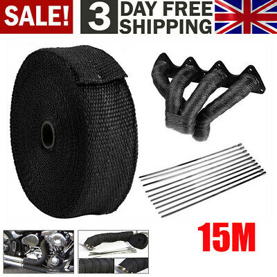 15m Titanium Exhaust Heat Wrap Car Motorcycle Insulating Tape With Ties Black UK
