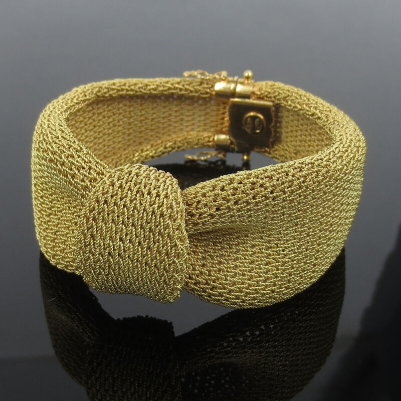 Vintage 18k Yellow Gold Hand Made Wide Rope Mesh Bracelet