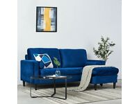 2 Seater Blue Velvet Fabric Sofa with 2 Cushions Couch Settee