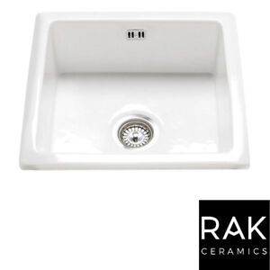 RAK Ceramics Gourmet Sink 6 Inset/Undermount 1.0 Bowl White Ceramic Kitchen Sink
