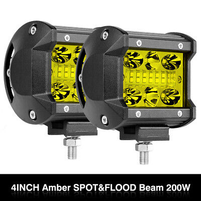 "2PC Amber Offroad Car Work Driving Fog Lights 4"" 120W 4-Row Spot Flood Beam Cube"