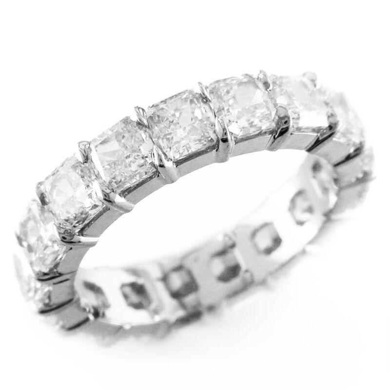 Cushion Shape 14k Gold 4.00 Carat Dia Certified Eternity Diamond Ring