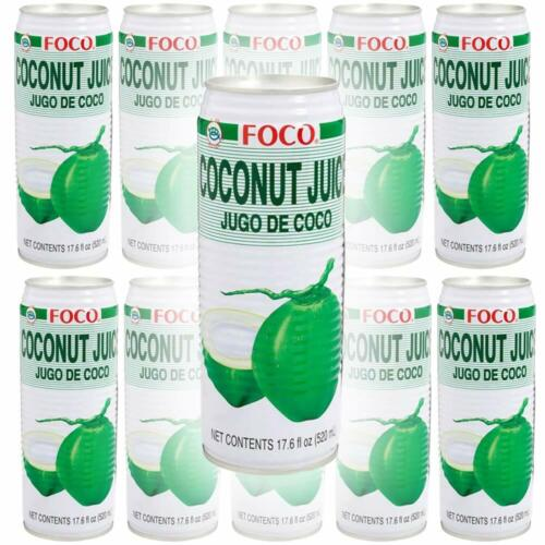 FOCO Coconut Juice, 17.6 Oz Tall Can (Pack of 10, Total of 176 oz)