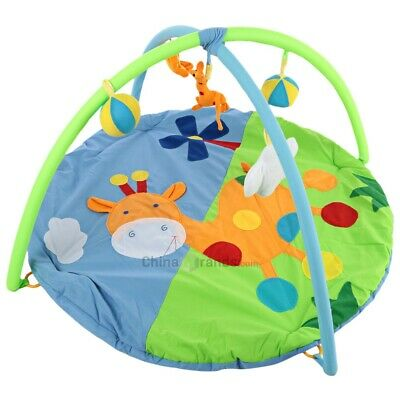 Baby Play Mat Baby's Gym Soft Blanket with Frame Rattle Crawling Toy Giraffe