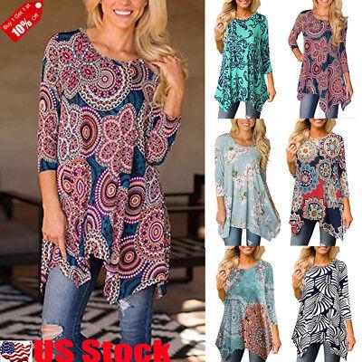 Long Sleeve Printed T-shirt (Women's Casual Irregular Printed Long Sleeve Blouse Loose Tunic Tops T-Shirt USA )