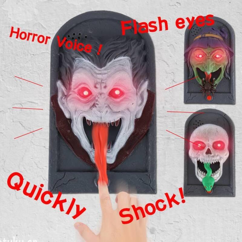 Halloween Door Bell Haunted Prop Animated Doorbell Sound Movement Party Decor