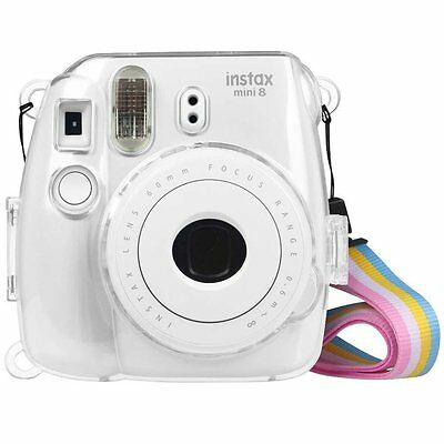 Fujifilm Instax Mini 8 /8+/ Mini 9 Instant Camera Clear Case Bag Cover w/ Strap
