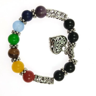 7 Chakra Gemstone Bracelet Heart Pendant Rock Stone Crystal Reiki Healing NEW Chakra Healing Stone Bracelet