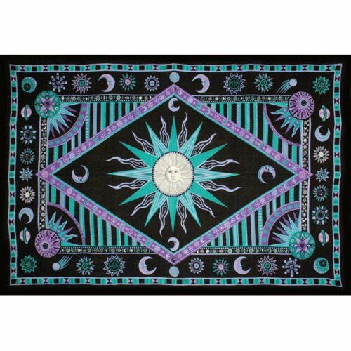 """NEW Celestial Sun and Moon Tapestry Cloth 72x104"""" (Twin) Cotton - Green/Purple"""