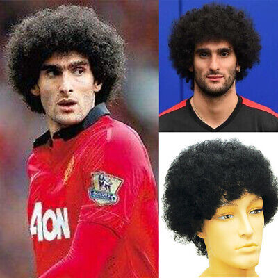 Afro Kinky Curly Hair Wigs For Men Toupee Fellaini Hairstyle Short Afro Wig  - Wigs For Black Men Curly