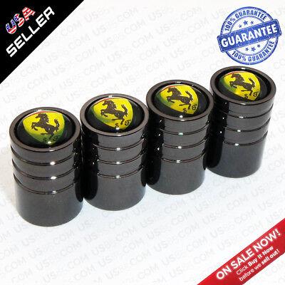 Black Wheels Tire Air Valve Caps Stem Valve Cover Scuderia Ferrari SF Emblem