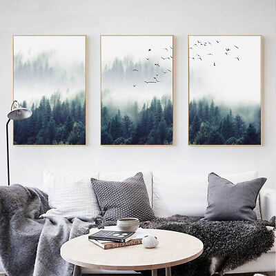 - Forest Landscape Wall Art Canvas Poster Print Nordic Style Painting Home Decor