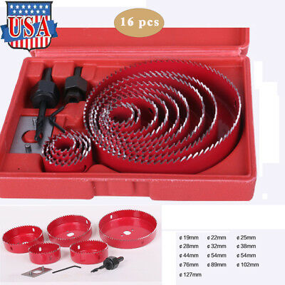 16PCS Carbon Steel Hole Saw Cutting Set Kit 19-127mm Holesaw Wood Sheet + (Carbon Steel Hole Saw Set)