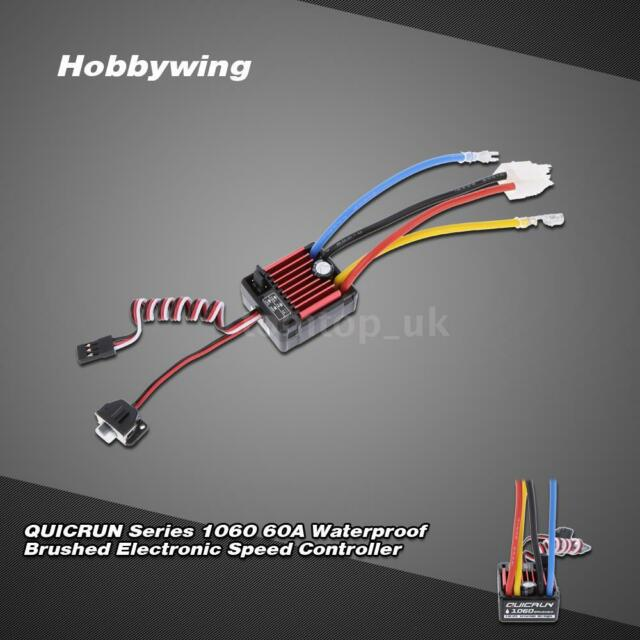 New Hobbywing QUICRUN Series 1060 60A Waterproof Brushed ESC+BEC for RC Car Q1O9