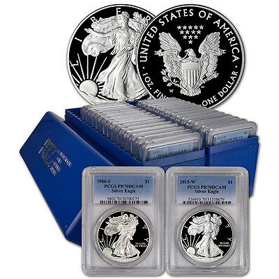 Click now to see the BUY IT NOW Price! 29 PC. 1986   2015 AMERICAN SILVER EAGLE PROOF COMPLETE DATE SET  PCGS PR70 DCAM