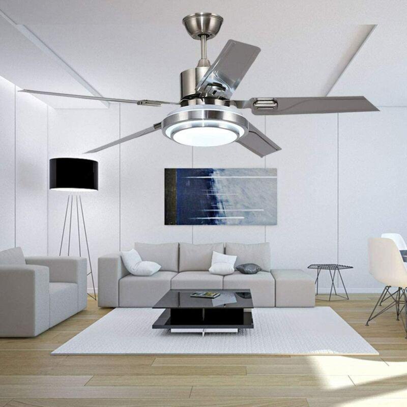 52'' Ceiling Fan Light 5 Stainless Steel Blades LED Fan Lamp