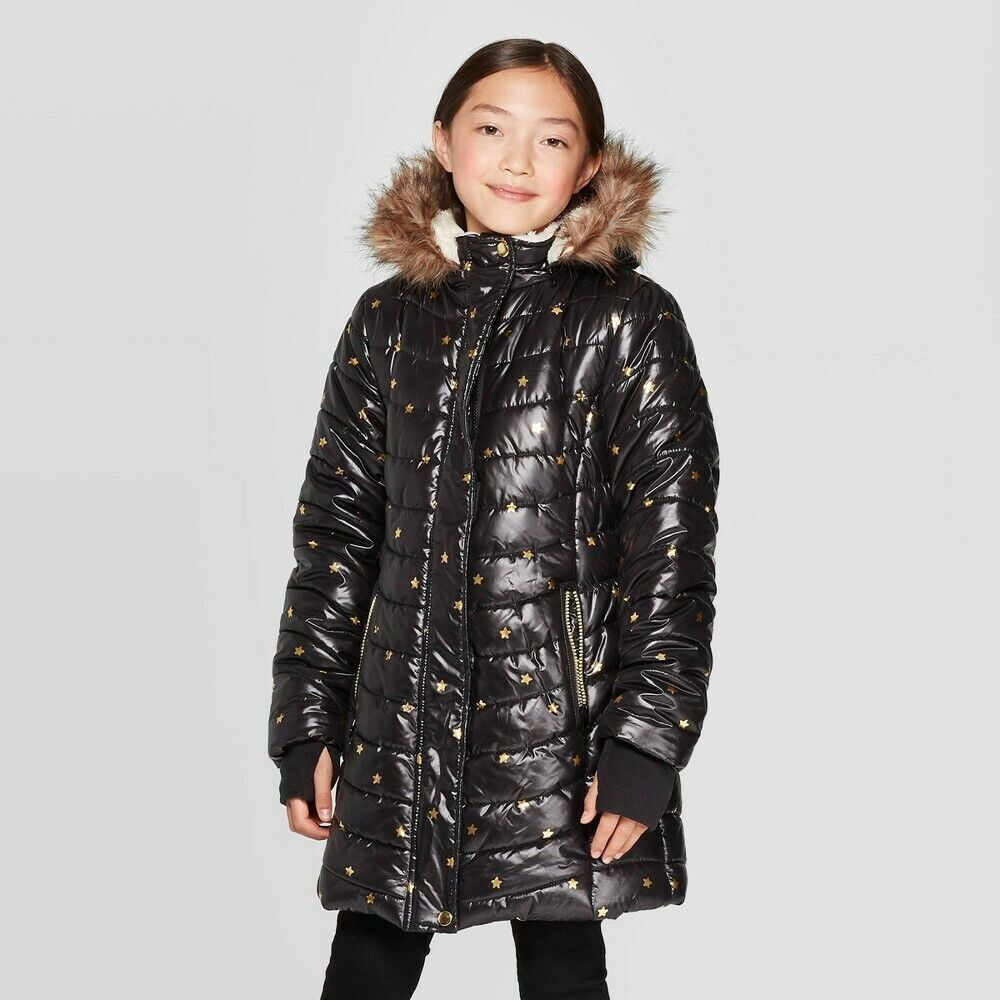 Girls' Foil Printed Hooded Puffer Jacket – Cat & Jack Black M Baby