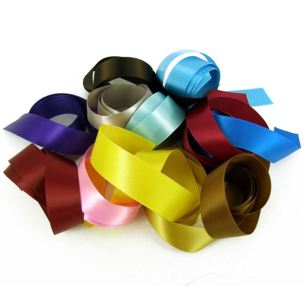 "Assorted Colours of 12mm 1//2/"" Satin Ribbon Off Cuts Bundle 10 x 1 m 10 metres"