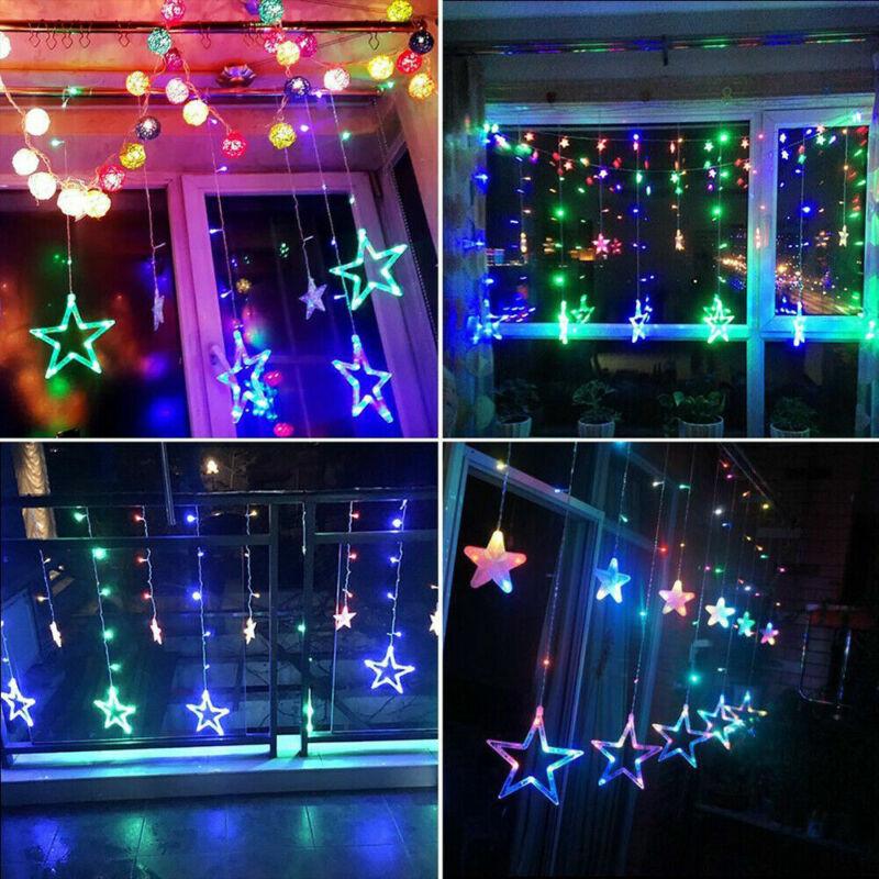 Plug+In+LED+Moon+Star+Curtain+Lights+Fairy+String+Wall+Lights+Wedding+Party+Xmas