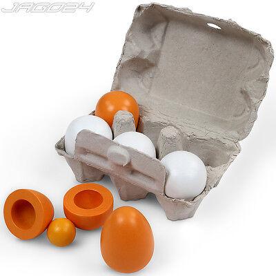 6 Holzeier Eierschmaus Kinderküche Kaufmannsladen Zubehör Lebensmittel Spielzeug