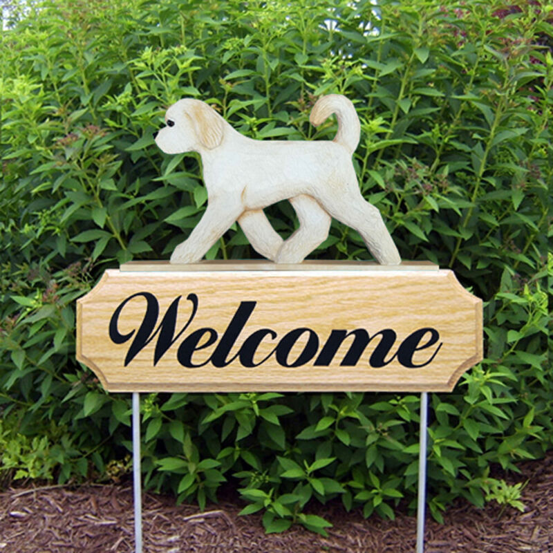 Goldendoodle Wood Welcome Outdoor Sign Cream