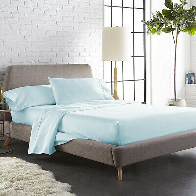 400 TC COTTON LIGHT BLUE QUEEN HIGH QUALITY BED SHEETS 4 PIECES SET BEST PRICE (Best Queen Bed Sheets)