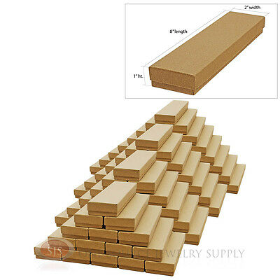 100 Kraft Cotton Filled Jewelry Gift Boxes Cardboard 8 X 2