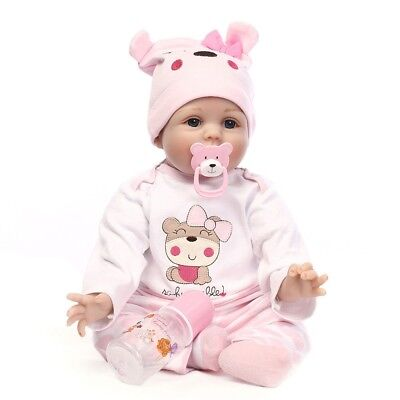"""22"""" Handmade Reborn Baby Doll Toddler Newborn Vinyl Silicone Girl With Clothes"""