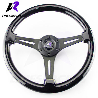 350MM 6 Hole  CLASSIC WOOD GRAIN Black Chrome STEERING WHEEL w/ Horn For  Chevy