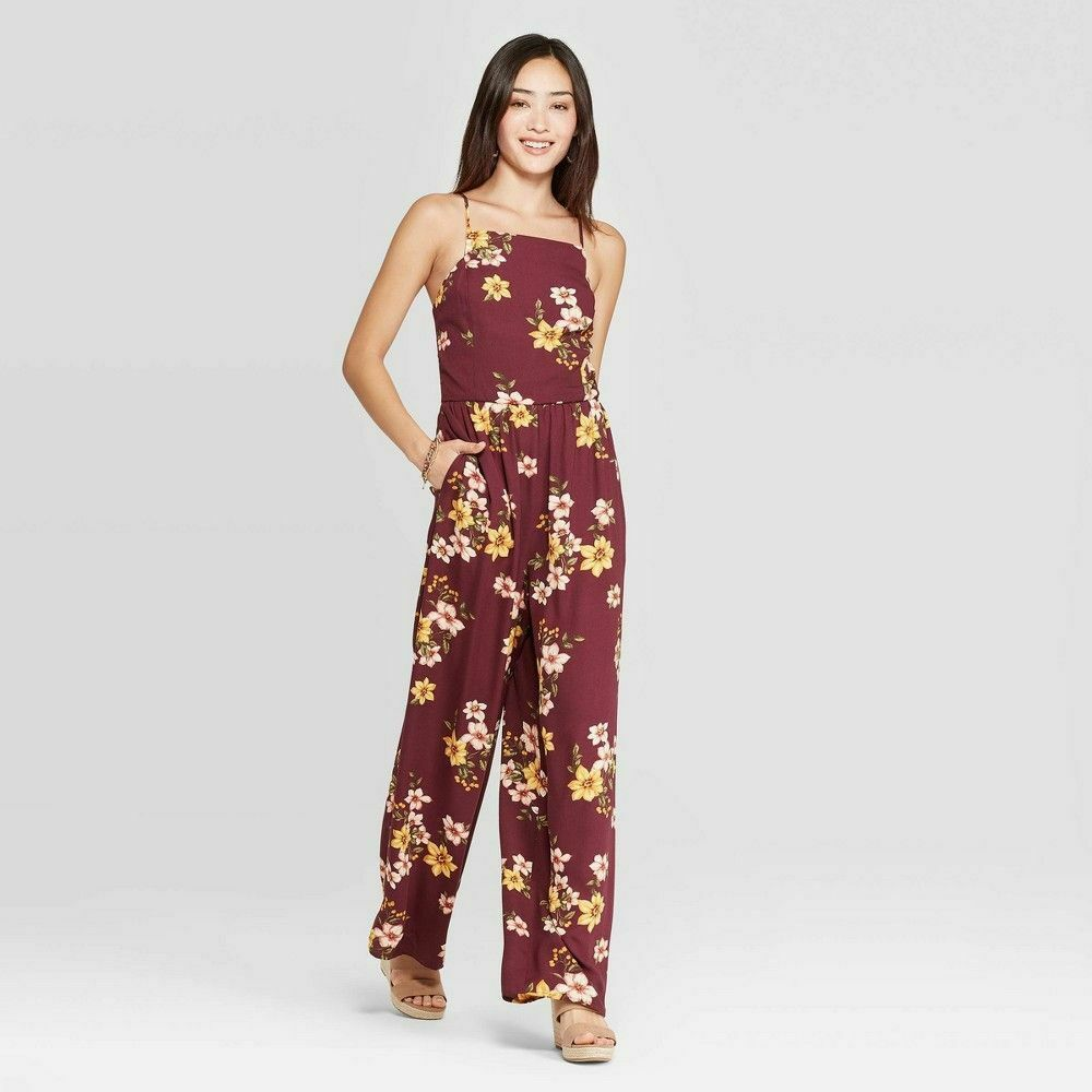 Xhilaration Women's Jumpsuit Size Small S Maroon Floral Spag