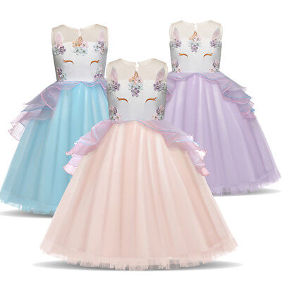 Kids Girls Unicorn Flower Wedding Dress Party Princess Birthday Cosplay Costume
