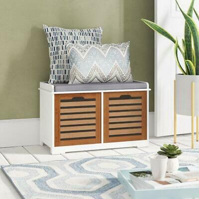 Kendal 2 Seater Wooden Storage Bench with Seat Cushion,Bamboo Drawers-OT53