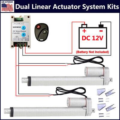2 Dual 12v Electric Linear Actuator W Wireless Dc Motor Controller Brackets Kit
