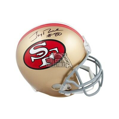 849071156 Jerry Rice Autographed San Francisco 49ers Full-Size Football Helmet - BAS  COA