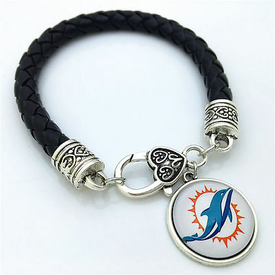 Miami Costumes (MIAMI DOLPHINS LEATHER BRACELET by COSTUME JEWELRY KING-NEW-GREAT)