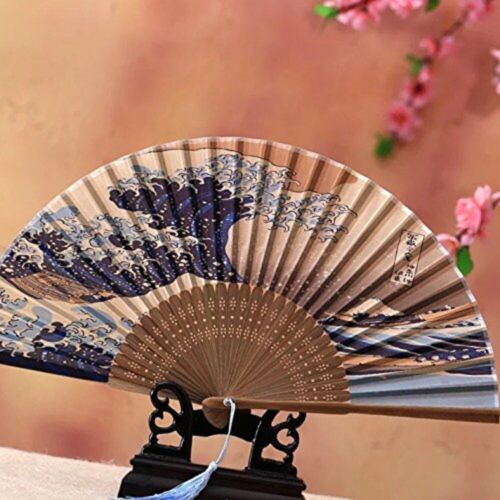 Japanese Kanagawa Sea Waves Silk Folding Fan Gift Set(3pcs)