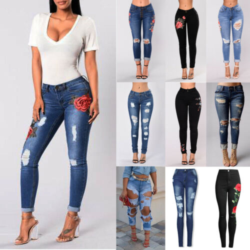 US Women High Waist Ripped Denim Jeans Flower Embroidered Sk
