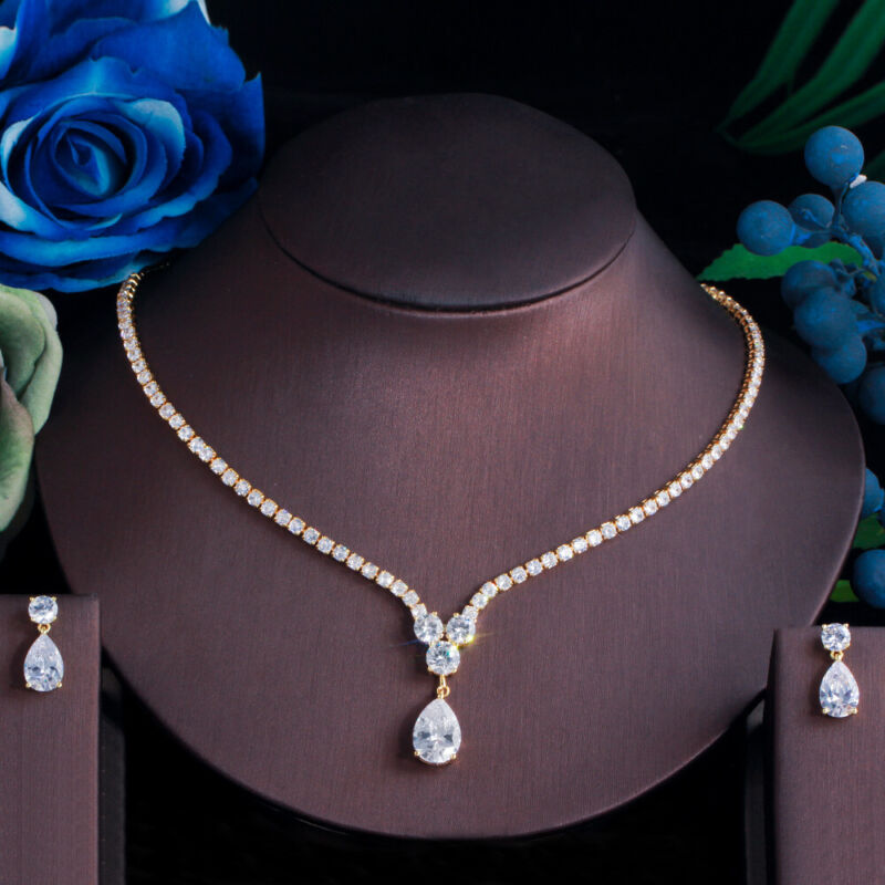 Gold Color CZ Drop Pendant Necklace Earrings Bridal Wedding Fashion Jewelry Set