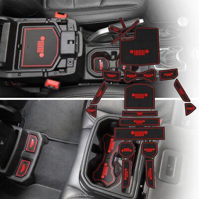 Fit Jeep Wrangler JL 2018 Accessories Door Mats Gate Slot Mat Cup Pads Red 19pcs