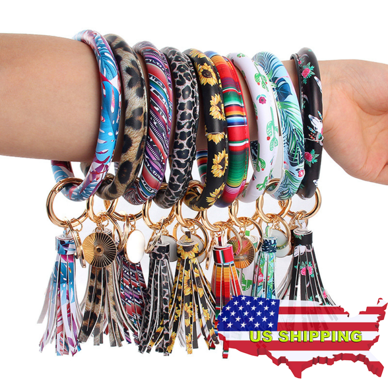 women leather tassel bracelet o keychain wristlet