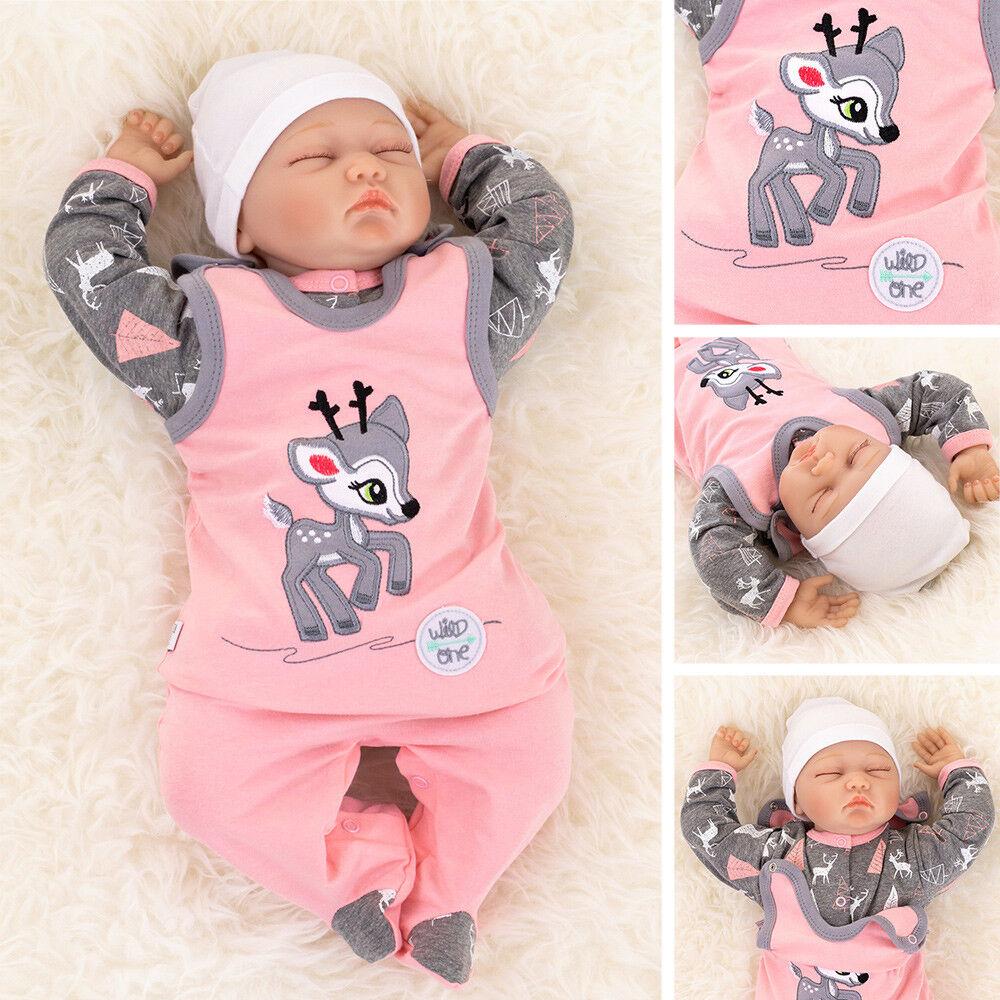 Mädchen Set Shirt Strampler | rosa grau Rentier Reh Design 56 62 68 74 80