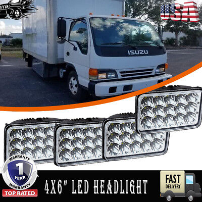 4X6 Led Headlights For Gmc W3500 W4500 W5500 Forward Isuzu Npr Hd Nqr 2Pair