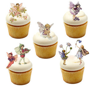 16 Stand Up Vintage Flower Fairies / Fairy Edible Wafer Paper Cupcake Toppers