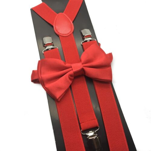 Red Suspender + Clip On Bow-tie Matching Set For Adults Men Women