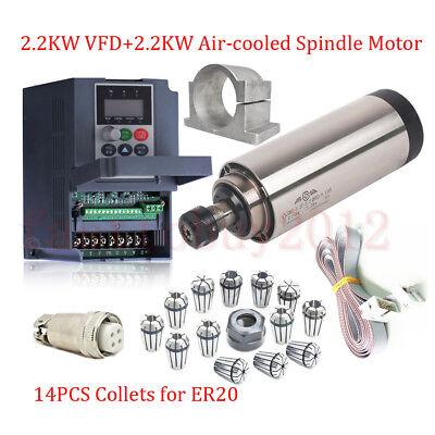 Er20 Spindle Motor Air Cooled 2.2kw Cnc 2.2kw Vfd Invente Drivecolletsbracket