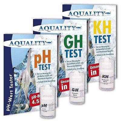 (33,33€/100ml) AQUALITY 3-fach Wassertestset pH, GH und KH Test Tropfentest