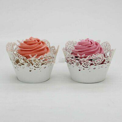 Lace Cupcake Liners (25/50X Shell Cupcake Wrapper Liner Vine Lace Cup Muffin Baking Wedding Party)
