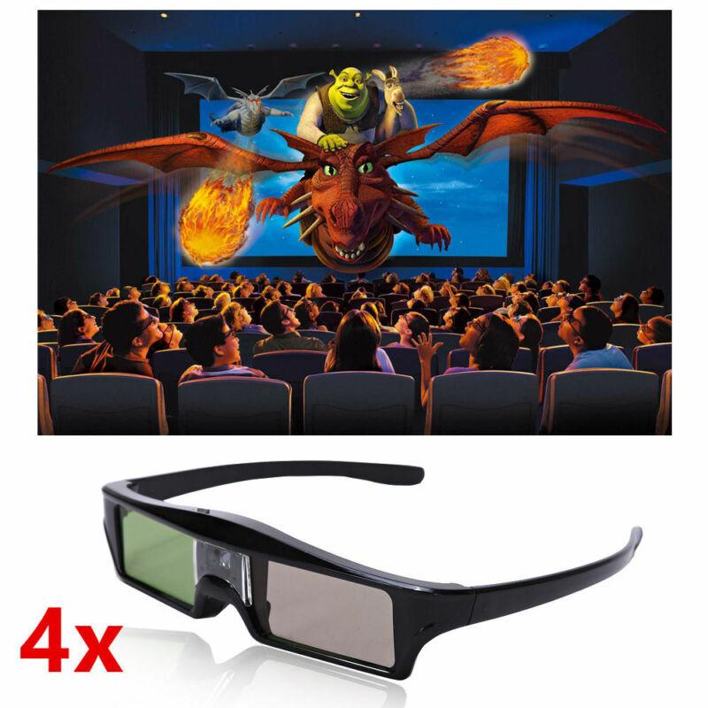 4X 3D Active Shutter Glasses For Sony BenQ Vivitek DLP 3D Projector Rechargeable