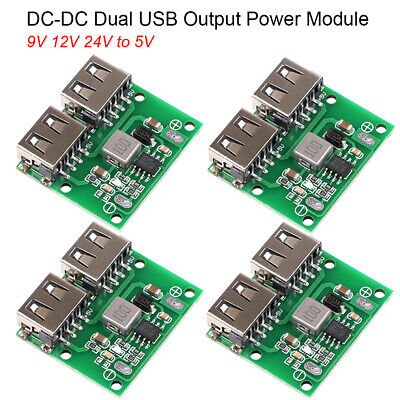 4pcs Mobile Power Supply Board Usb Dc-dc Step Down Charger 9v 12v 24v To 5v Dual