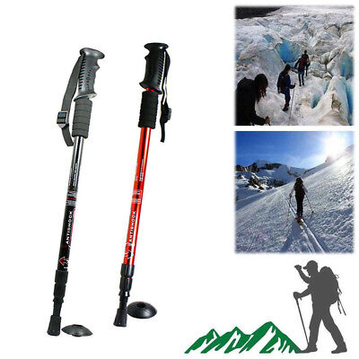 Trekking Pole Walking Hiking Stick 3 Section Adjustable Retractable Anti-shock